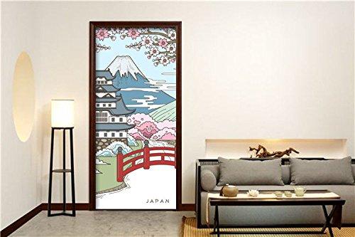 S.Twl.E Renovación de viento estilo japonés puertas Armario impermeable adhesivo impermeable Wallpaper autoadhesivo removible murales para dormitorios puerta de casa Salón Dormitorio Oficina pegatinas de pared en la decoración del hogar 60x135cm.