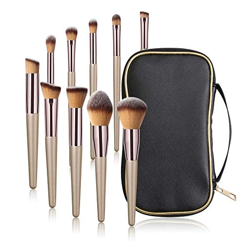 MAANGE 10 Pieces Brocha de Maquillaje Pinceles de maquillaje Set Premium Synthetic Foundation Brush Blending Face Powder Blush Concealers Kit de pinceles para 1 Bolso