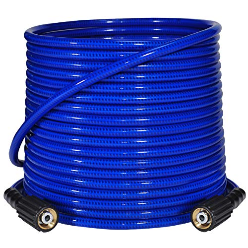 """YAMATIC Ultra Flexible Pressure Washer Hose 1/4"""" x 50 ft with M22-14mm Brass Connector Fit Gas Power Pressure Washer"""