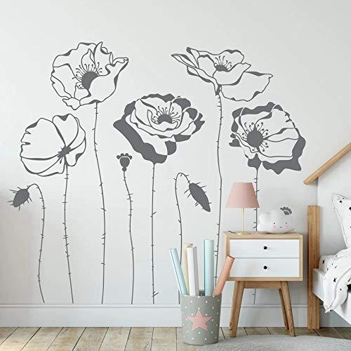 HGFDHG Arte Creativo Moda Flor Pared Hierba Amapola Pared Natural Vinilo jardín de Infantes Sala de Estar decoración Mural