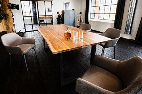 Kasper-Wohndesign massiv mit Baumkante (200 cm, Fuß schwarz) Esstisch, Holz, braun, 200 x 100 x 77 cm