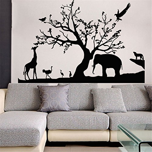 Yanqiao ウォールステッカー 動物 象 キリン 立体的で光煌かす壁紙 カッコイイ欧米スタイル 高品質 ...
