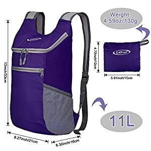 G4Free Lightweight Packable Shoulder Backpack Hiking Daypacks Small Casual Foldable Camping Outdoor Bag 11L(Purple)