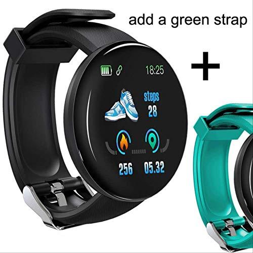 WFQ Watch Smart Watch mit Bluetooth 2019 für Herren, Runde Smartwatch mit Blutdruck für Frauen, wasserdichte Sportuhr China D18 Add Green Strap