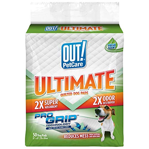OUT! Ultimate Pro-Grip Dog Pads | Absorbent Pet Training and Puppy Pads | Grip Technology Prevents Slipping and Bunching | 50 Pads | 21 x 21 Inches