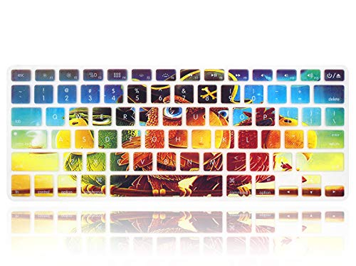 MMDW English Silicone Keyboard Cover Skin for MacBook Pro 13' 15' 17' (2015 or Older Version),for MacBook Air 13' A1369/A1466 (US Versions) Layout Protective Skin,Three Parrots