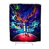 BOBONC Duschvorhang Cartoon Planet Muster Modern Anti-Schimmel Shower Curtain Bad Vorhang mit Ringe White 150x200cm