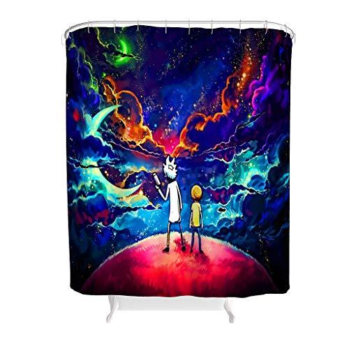 BOBONC Duschvorhänge Cartoon Planet Muster Modern Vorhang Badewannenvorhang für Badewanne White 200x200cm
