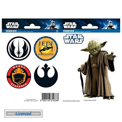 1art1 Star Wars Paquet De Stickers - Yoda, Logos, 2 Planches (15 x 10 cm)