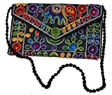Bolso clutch de tela con motivos étnicos de 32x20 cms. (Varios colores disponibles)