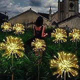 JK Solar-Gartenlichter, 120 LEDs, Pfahl-Landschaft, Feuerwerk, Sterne für Garten, Terrasse, Hinterhof, Weg, Hochzeit, Party, 2 Stück