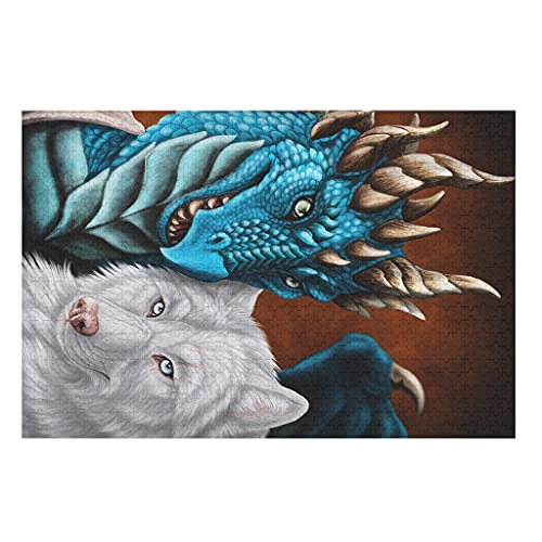 CCMugshop Divertidos puzles de fantasía con diseño de dragón y lobo, 500/1000 piezas, juego de juguetes blancos, 300 piezas