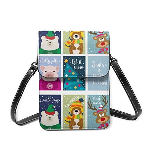 Colección de tarjetas de Navidad con animales y deseos ligero Crossbody teléfono celular bolso para las mujeres espaciosos bolsillos bolsas