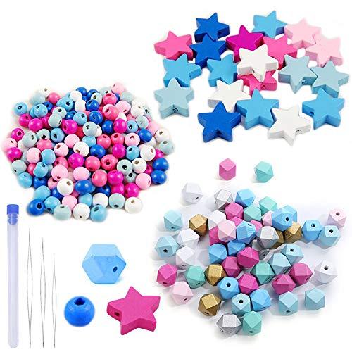 Zasiene Perline in Legno 290 Pezzi Colorate Perline Perline Legno Perline di Legno Sfere di Legno, con Aghi per Perline, Perline per Braccialetti Collane Fai da Te, (3 Forme)
