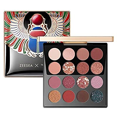ZEESEA Eyeshadow Palette Makeup 16 Colors The British Museum Egypt Series Shimmer Matte Glitter Colors Eye shadows Makeup Palette Highly Pigmented Creamy, 02 CHERRY WINE