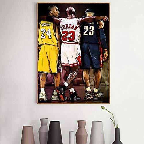Estilo nórdico Motivacional Michael Jordan Kobe Bryant Baloncesto Posters Arte de la pared Impresión en lienzo Cuadro de pintura Habitación de niño Decoración para el hogar-50x70cm (sin marco)