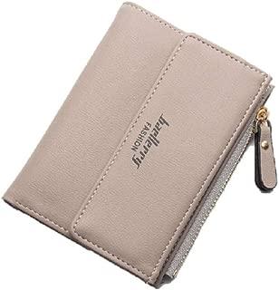 Small Beige Vegan Leather Bifold Zipper Coin Pocket Snap Closure Wallet for Women
