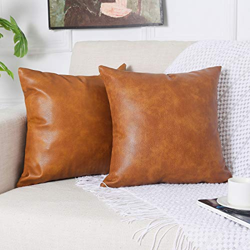 PANOD Pack of 2 Premium Faux Leather Throw Pillow Covers, Modern Luxury Decorative Square Throw Pillow Case Cushion Cases for Sofa Couch Bed Car Outdoor,18x18 inch Brown
