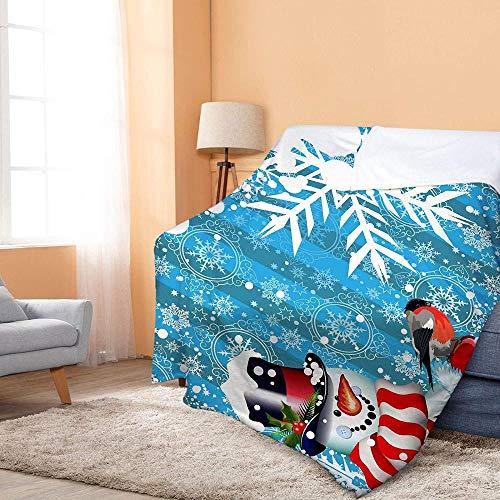 Inhomer Decke Weihnachtsdecke Decken Decken Schneemann Muster Bedruckte Bettwäsche Weiche warme Flanelldecke für Betten/Sofa Dekor 150X200cm - 129