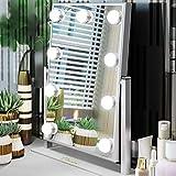 Ovonni Miroir Maquillage Miroir de Table Lumineux Touche Tactile LED Eclairage 9 Empoules LED, Miroir HD LED Cosmétique sur Pied Réglable Style Hollywood Chic Cadeau-Argenté