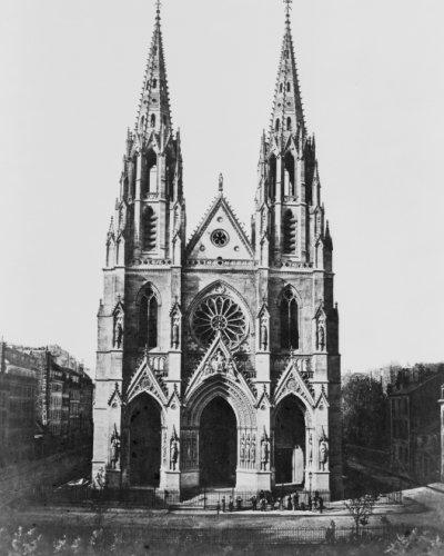 Paris de Fotos de Siglo XIX. Sainte Clotilde/E. Baldus. Vintage Photogra G8en Blanco y Negro