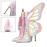 Rong-- Moda Botines para Mujer Cómodo Ankle Bootie con Alas De Mariposa Extraíbles para Otoño E Invierno, Diseño Individual,Rosado,36