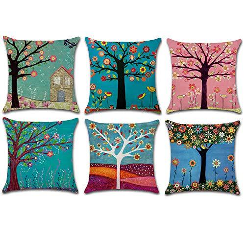 HuifengS Fundas de cojín cuadradas de Lino para sofás o Camas, Patrón Abstracto, árbol de la Vida, Juego de 6 Fundas de cojín, 45 x 45 cm