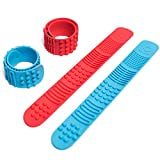 Sensory Slap Fidget Bracelet Bands - 2-Pack - Quiet Tactile Stimulation for ADHD, Autism, Special Needs Kids - Helps Girls & Boys with Stimming Fidgeting and Focus - by Solace (Red & Blue)