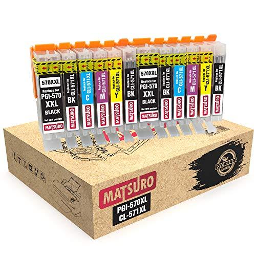 Matsuro Original | Compatible Cartuchos de Tinta Reemplazo para Canon PGI-570XL CLI-571XL 570 571 (1 Set of 6)