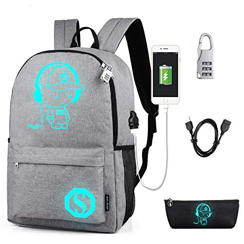 Lmeison School Backpack for Teen Boy Girl, Anime Luminous Backpack Waterproof Student Bookbag with USB Charging Port&Lock &Pencil...