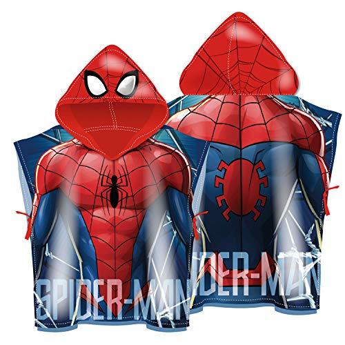 ARDITEX SM13513 Poncho de Microfibra con Capucha de 55X55cm de Marvel-Spiderman
