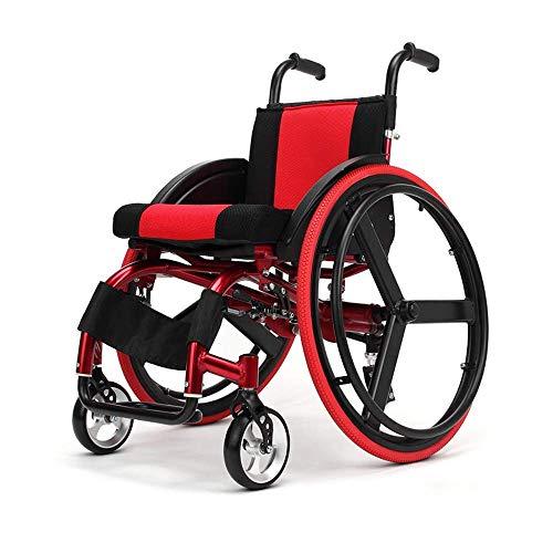 wheelchair Medizinischer Reha-Stuhl, Rollstuhl, leichter Rollstuhl Medizinischer ergonomischer ultraleichter manueller Rollstuhl 38 cm Sitzbreite - abnehmbarer Freizeitsport (rot)