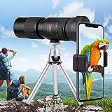 Adhope 4K 10-300X 40mm Monokular Teleskop HD Fernrohr Nachtsicht Wasserdicht Beschlagfrei Stoßfest Telezoom mit Smartphone Halterung & Stativ für Vogelbeobachtung Camping Wildlife Wandern Jagd Konzert