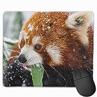 マウスパッド 可愛い レッサーパンダ 冬の雪 高級感 おしゃれ 防水 耐久性が良い 滑り止めゴム底 ゲーミングなど適用 ( 30*25*0.5cm )マウスパッド