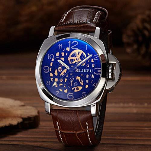 TWCAM Acero Cuero Pulsera Hombre- Reloj Mecánico Automático para Hombres Reloj Hueco De Doble Cara para Hombres Mecánicos, Cinturón Digital Marrón Plata Hueco