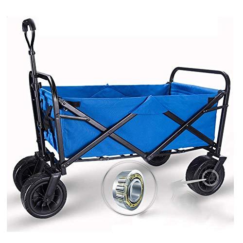 Flessibile Shopping Carrello Heavy Duty Pieghevole pieghevole Pieghevole All Terrain Utility Wagon Beach Carrello con tavola PRENOTAZIONE MULTI-PUBBINO SU Vari Terreno (Colore: BLUE Dimensioni: Dimens
