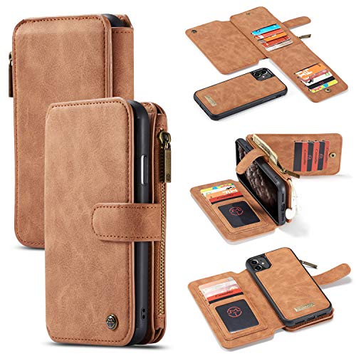 GFU Detachable Zipper iPhone 11 Wallet Case Best Thin Card Holder Leather Magnetic Slim Flip Strap Stand 2-in-1 Purse Wallet Case for iPhone 11 6.1 inch 2019 for Men for Women Girls (Brown)