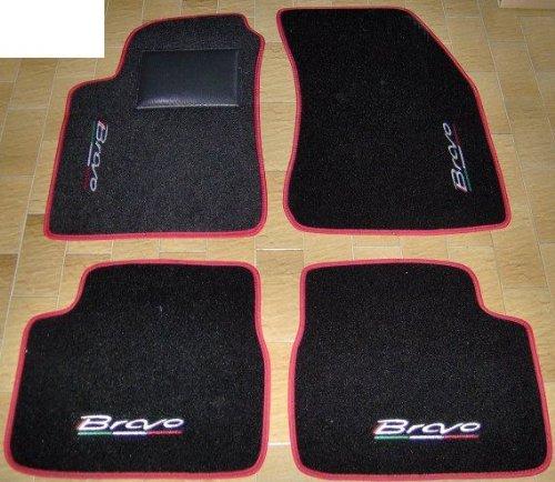 Tappeti per auto Neri con Bordo Rosso, set completo di Tappetini in Moquette su Misura con Ricamo a Filo Tricolore SPEDIZIONE GRATUITA