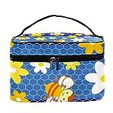 Bolsa de maquillaje de viaje con diseño de abeja de dibujos animados, bolsa de maquillaje, organizador de maquillaje, con cremallera, para mujeres y niñas