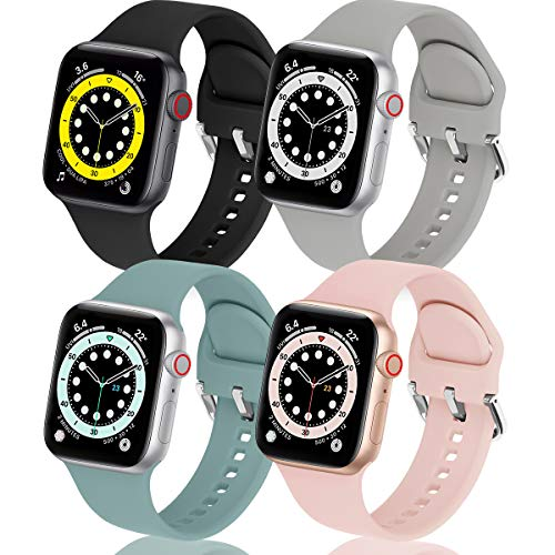 eCamframe Bands Compatible with Apple Watch Band 40mm 38mm 42mm 44mm, 4 Pack Soft Silicone Sport Replacement Wristband Compatible with iWatch Series 6 5 4 3 2 9 & SE Men Women