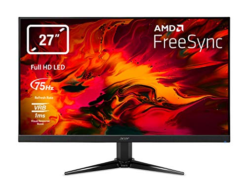 "Acer Nitro QG271bii Monitor Gaming FreeSync da 27"", Display Full HD, 75 Hz, 1 ms, 16:9, HDMI 1.4, VGA, Lum 300 cd/m2, ZeroFrame, Cavi VGA, HDMI Inclusi, Nero"