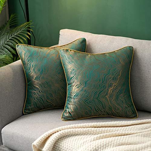 Hanrunsi - Set di 2 federe per cuscini, 45 x 45 cm, con ricami a righe, morbide federe decorative per divano, soggiorno, camera da letto, auto