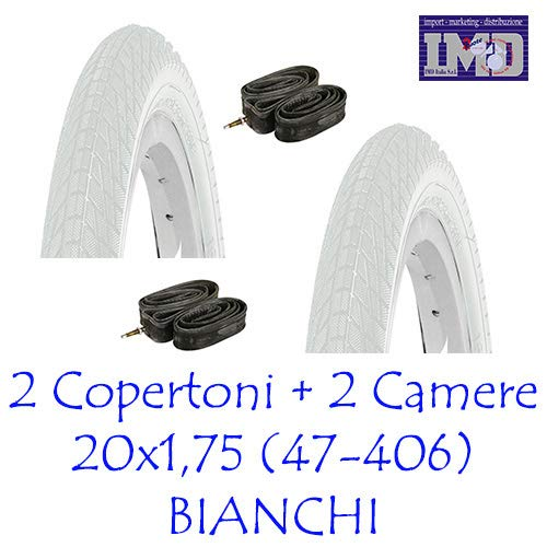 KENDA N°2 Copertone/Pneumatico 20 x 1.75 + N°2 Camera d'Aria Bici GRAZIELLA Bianco