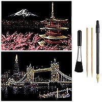 スクラッチペーパーレインボーペインティングスケッチパッドDIYアートクラフトナイトビュースクラッチボード大人用と子供用-2パック、16 X 11.2インチ (Mount Fuji/Tower Bridge)