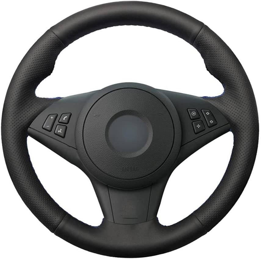 MDHANBK Hand-Stitched Black Leather Car for Wheel Max 50% OFF Max 87% OFF Cover Steering