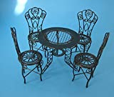 Puppenhaus Gartenmöbel Set Tisch und 4 Stühle grün Metall Miniaturen 1:12