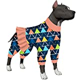LovinPet Big Dog Pajamas/Post Surgery Shirt/UV Protection/Triangles Blizzard Blue Prints/Lightweight Big Dogs Pullover, Full Coverage Large Breed Large Dog Onesie Jumpsuit