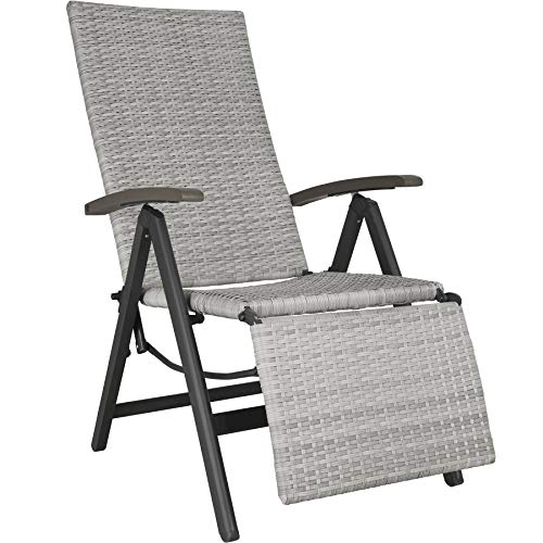 TecTake 800720 Aluminium Poly Rattan Relaxsessel mit Fußablage, klappbar & verstellbar, für Garten, Balkon & Terrasse, Gartenstuhl, witterungsbeständig - Diverse Farben - (Hellgrau   Nr. 403860)