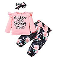 Material: Baby girl fall clothes set is made of cotton blend, skin-friendly, soft warm comfortable breathable for newborn's delicate skin. Design: Stylish toddler baby girl fall outfits, long sleeve ruffle tops, floral pants, little miss sassy pants ...
