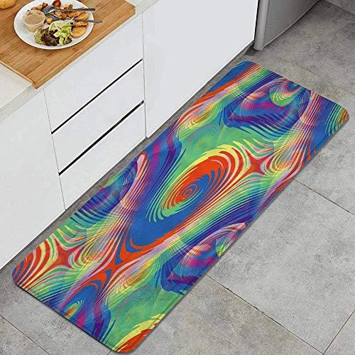 Tappeto da cucina antiscivolo,arcobaleno psichedelico Vortice a spirale Effetto ipnotico Illusione ottica Design colorato Stampa,Design Tappetino da cucina Tappetini da cucina Comfort 45cm x 120cm